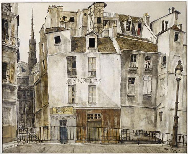 Léonard Tsugouharu Foujita (Japanese, 1886-1968) Le quai aux fleurs, Notre-Dame, 1950