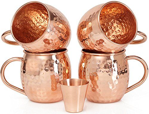 Set of 4 Moscow Mule Copper Mugs with Copper Shot Glass - Four 16 Oz Copper Moscow Mule Mugs - Solid Copper Hammered Mug - Copper Cups for Moscow Mules - Why use Pure Copper?Pure copper is essential for the chemical ionization of acids found in citrus fruits such as limes, lemons, and oranges. For this reason, other mugs that have stainless steel linings or are coated with food lacquer or nickel