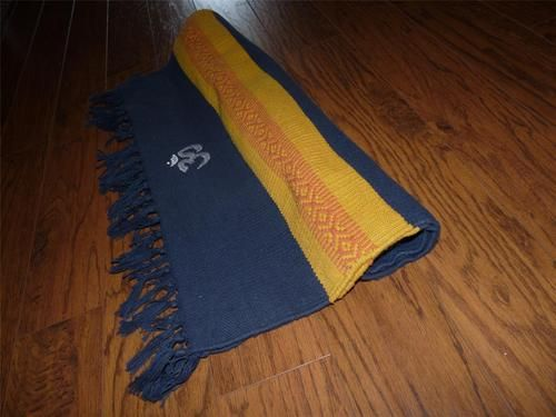 100 Cotton Mysore Yoga Rug Barefoot Co Navy Blue Gold Made In India And