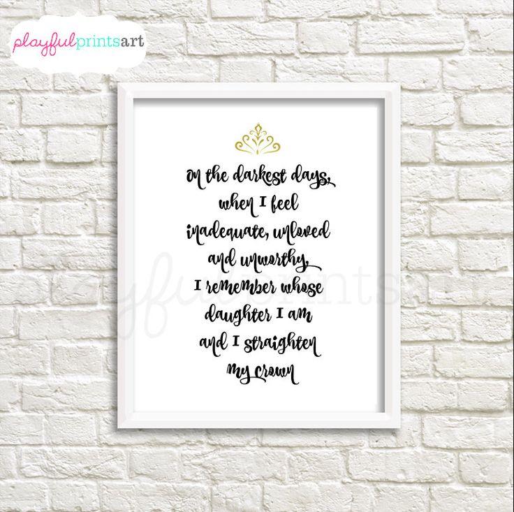 Daughter of the King Print, 8x10, Digital Download, Printable by playfulprintsart on Etsy