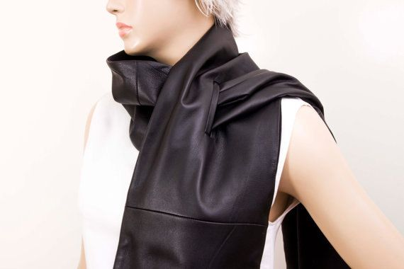 Unisex mens scarf genuine lambs LEATHER unisex long  by SenasShop