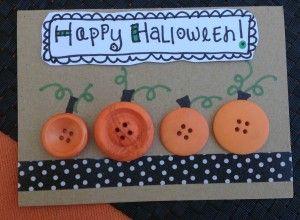 Cute idea! Halloween Card Making with Button Pumpkins via Laura Kelly's Inklings #GlueDots