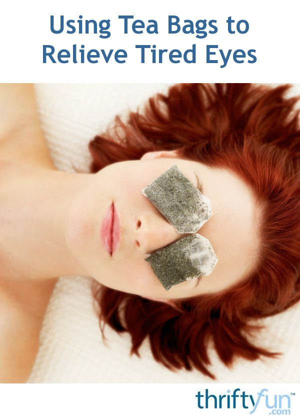 Tea bags, both black and green, are said to help revive tired eyes, as well as reduce dark circles, and puffiness. This page contains ideas about using tea bags to relieve tired eyes.