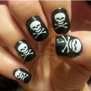 WHITE SKULL and Cross Bones Pirate Goth Nail Art (SKW) - Waterslide Decals Not