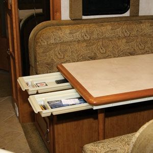 """This is a pretty good idea!  Looking for more space? Add-A-Drawer is the perfect addition to your RV or Motor Home. Mounts easily under tables or cupboards, mounting hardware is included. Double rail design accommodates flat or lipped table styles. Self locking sliding channels. Drawer tray dimensions: 8"""" x 14"""" x 2"""""""