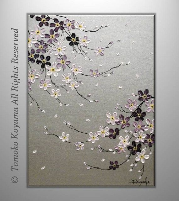 Original Acrylic Impasto Modern Abstract Painting on Gallery wrapped Canvas 18 x 24 Home Decor,--- Purple Cherry Blossoms---