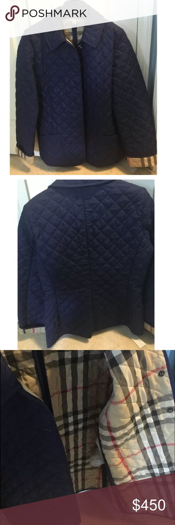 Authentic Burberry quilted jacket Authentic royal blue Burberry quilted jacket. Brand new only worn a few times. In excellent condition. Burberry Jackets & Coats