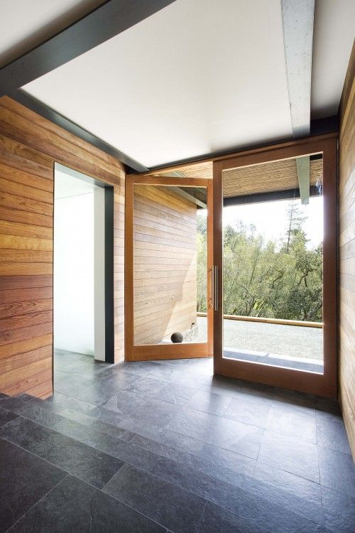 slate floor: Ideas, Floors, Modern Entry, Interiors, Quezada Architecture, Front Doors, Glasses Doors, Wood Wall, San Francisco