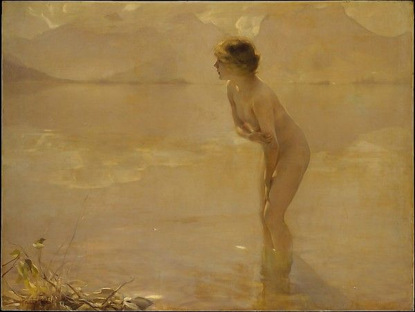 September Morn  Artist:Paul Chabas (French, Nantes 1869–1937 Paris) Date:ca. 1912 Medium:Oil on canvas Dimensions:64 1/2 x 85 1/4 in. (163.8 x 216.5 cm) Classification:Paintings