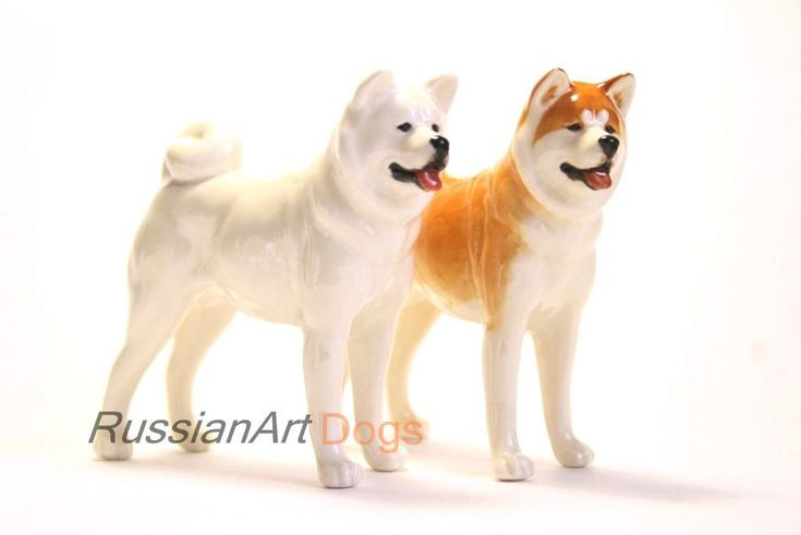 Akita inu dog porcelain figurine handmade statuette by RussianArtDogs on Etsy
