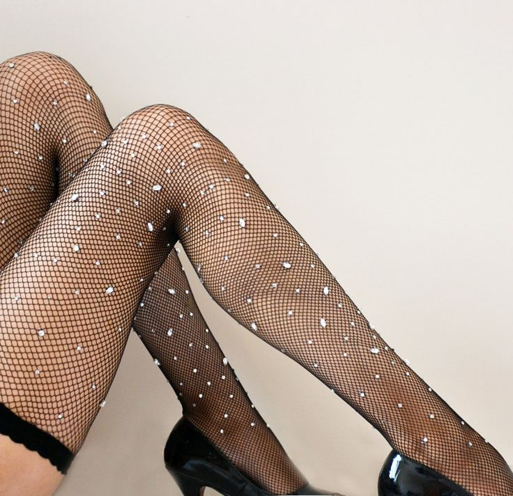 Sprinkle Black Fishnet  Hold ups Stockings with Diamond Gemstones - Burlesque stockings. $75.00, via Etsy.