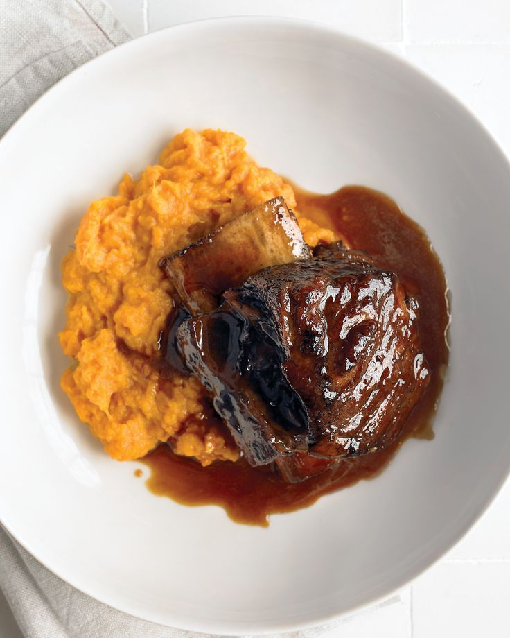 Root Beer Short Ribs | Martha Stewart Living - This rib recipe, courtesy of Shawn Darling of Windsor, California, is slow-cooked in a root beer broth and is great with mashed sweet potatoes.