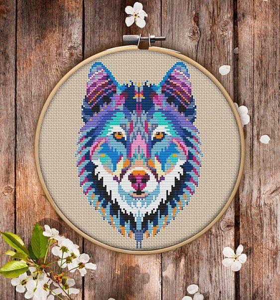 Mandala Wolf Cross Stitch Pattern $3.95