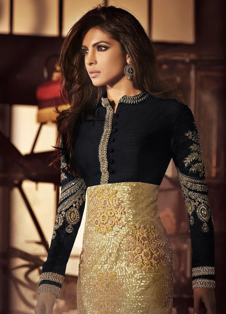 Priyanka Black and Gold Suit