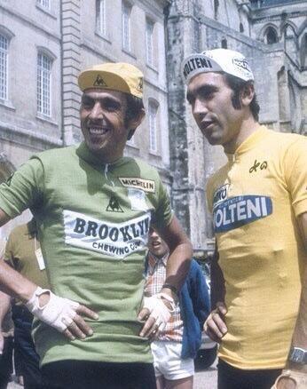 1974 > Patrick Sercvu in 't groen (leider van het puntenklassement) en Eddy Merckx in 't geel