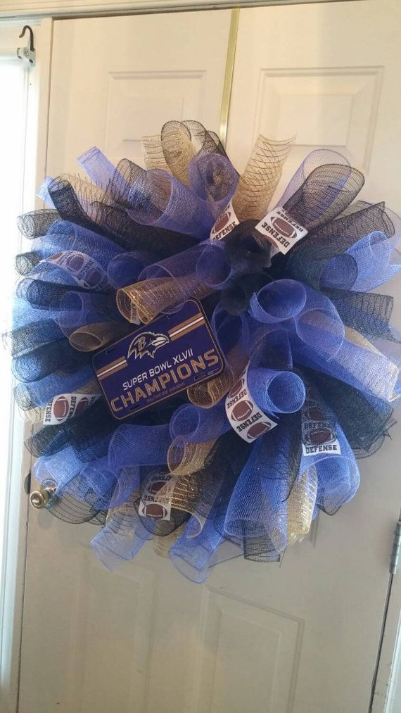 Check out this item in my Etsy shop https://www.etsy.com/listing/239415864/ravens-wreath-baltimore-ravens-wreath