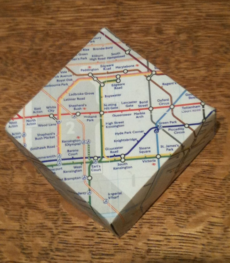 Wedding favor chocolate box made from a London Underground map. 100 boxes made for daughter's wedding 2012