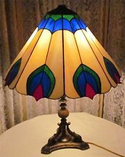 Vintage Brass 2 Light Slag Lamp Stained Glass Lamp Shade #vintagelamp #satinedglass #swag