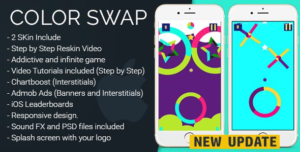 Color Swap 2.0 - iOS Template . Color Swap is a highly addictive game where you have to tap the ball to Jump, Follow the color pattern on each obstacle. The game has been created using Cocos2dx framework Step by Step Documentation(With Picture)