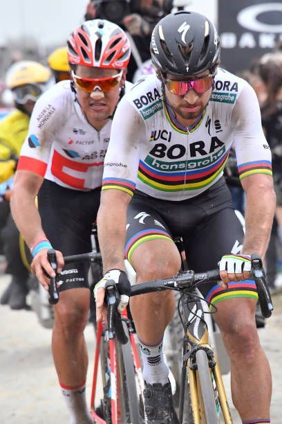 f1cd6e8b1 Peter Sagan of Slovakia and Team Bora Hansgrohe   Silvan Dillier of  Switzerland and Team AG2R La Mondiale   during the 116th Paris to Roubaix  2018 a.