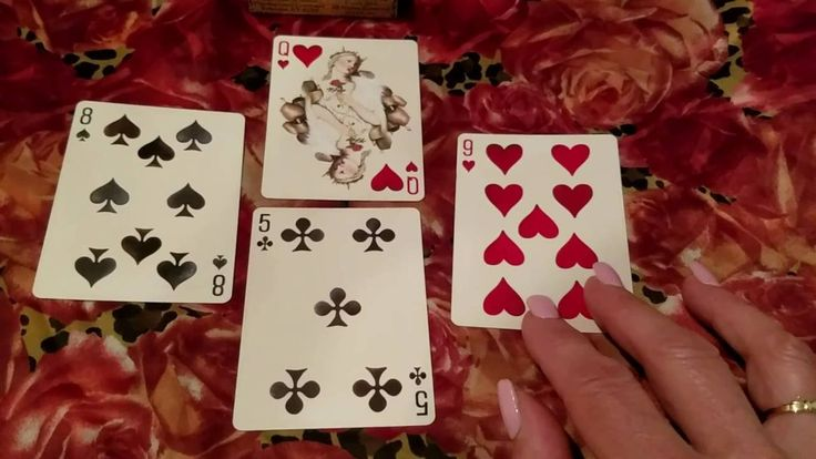 4 card playing card reading querents situation with