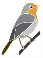 European Robin.  Picture and stencil of a bird.