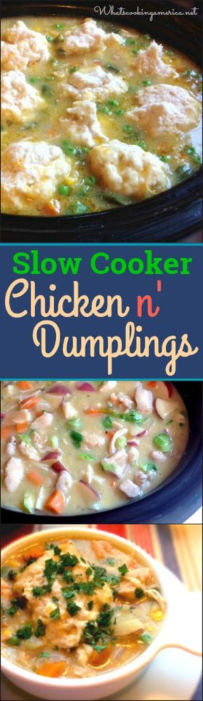 A classic Chicken and Dumplings recipe easy to dump and go in the slow cooker #chicken #dumplings #slowcooker #crockpot