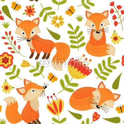 Materiał do szycia seamless pattern with fox in flowers  - vector illustration, eps. Zobacz materiały do szycia drukowane na zamówienie autora nataka. Zamów bawełniany materiał do szycia z wzorem w bezszwowe, wzór, tapeta, tekstura, tło, zwierzę, ssak, lis, rudy, kolor, pomarańczowy, las, las, zoo, dziki, dzikość, drapieżnik, przyjazny, futro, ogon, polowanie, chytry, fauna, kwiat, roślina, flora, kwitnąć, kwiatowy, element, projektować, ozdobny, wystrój, liść, natura, lato, sprężyna…