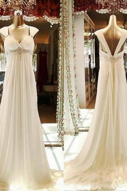 Sweetheart Empire Waist Low Back Chiffon Beaded Ivory Beach Wedding Dresses with Cap Sleeves