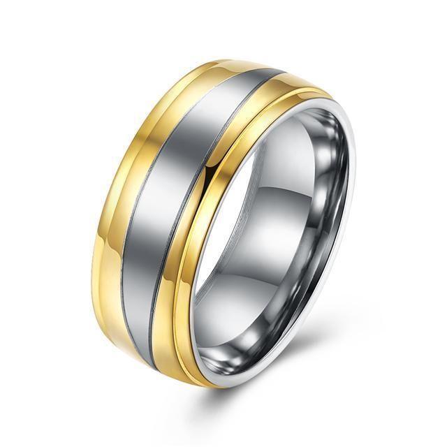 Titanium Steel 316L Damen Ring+Bicolor+Gr 56 (17,8 mm Ø)+6,6 g+Neu