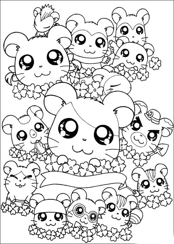Anime Hamtaro Coloring Pages For Kids Printable Free