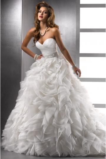Herz-neck Bodenlang Luxuriöse Brautkleider für Prinzessin