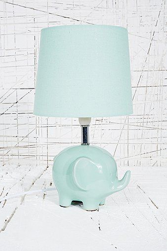 Mint light blue elephant ceramic anima lamp lighting urban outfitters