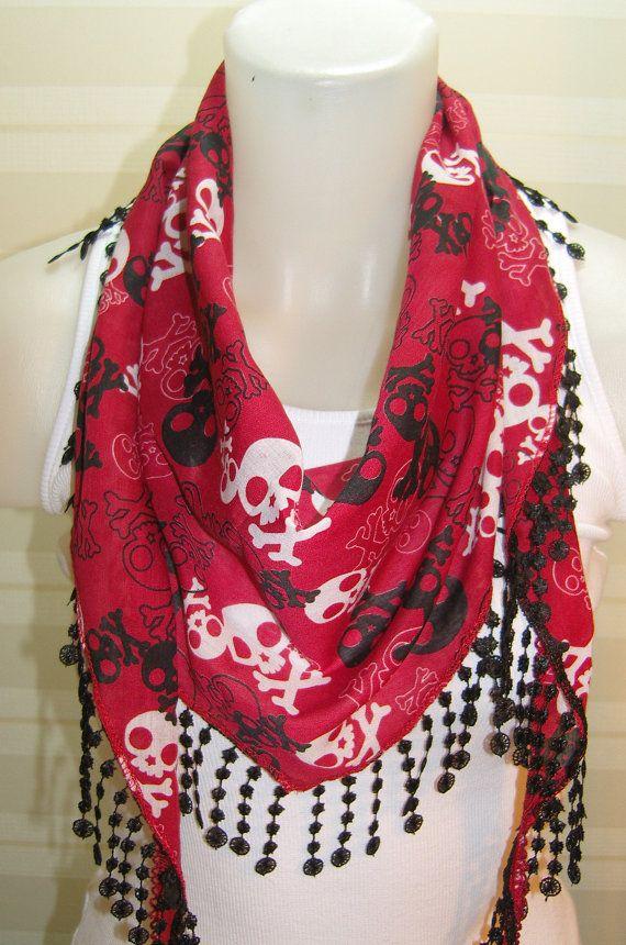 ON SALE Skull scarf women scarves guipure fashion by BalMelek, $9.90