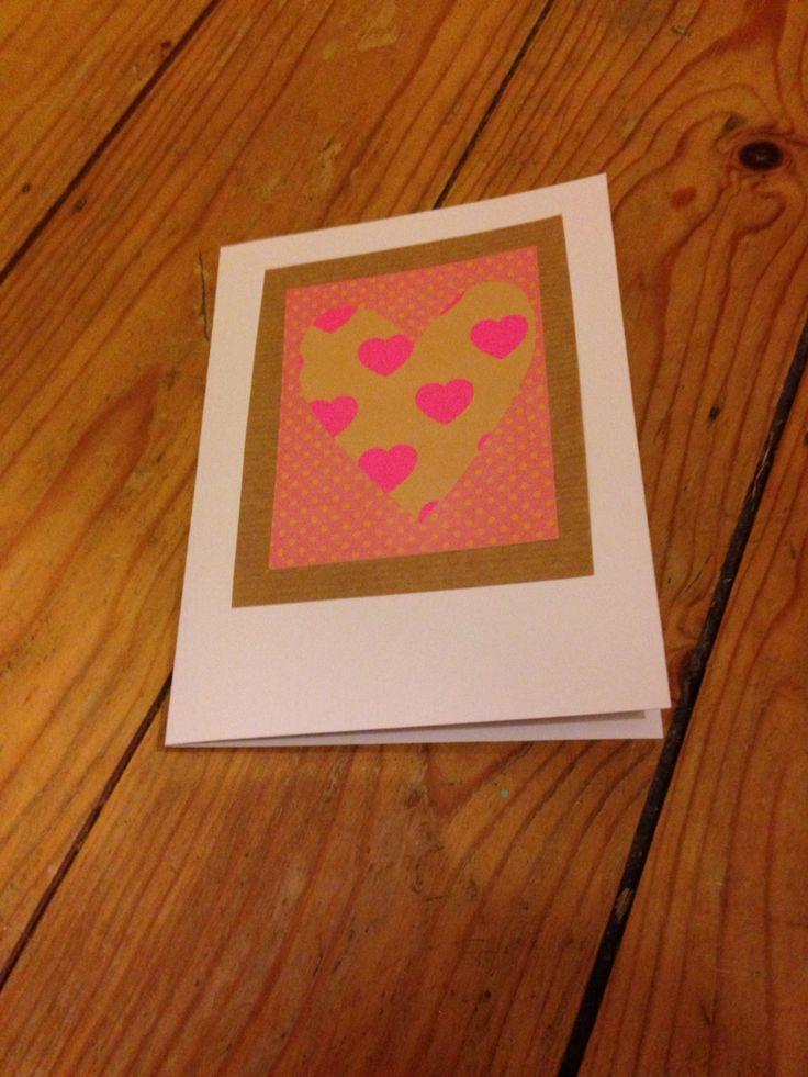Pink heart homemade card
