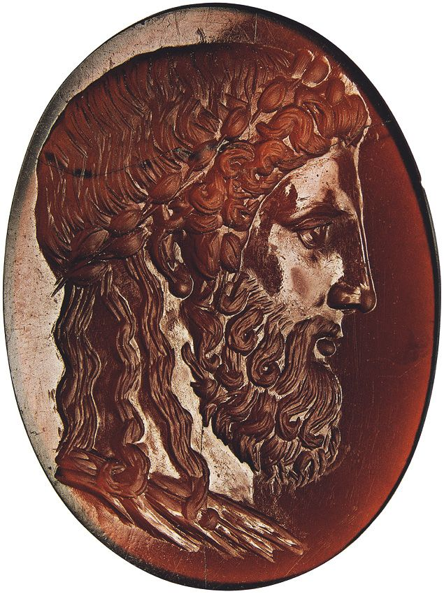 Head of Zeus from Olympia. Cornelian. Second quarter of the 2nd century BCE.  Berlin, State Museums, Collection of Classical Antiquities.