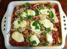 Groentenlasalne met harde geitenkaas. Heerlijke 'lasagnevellen' van aubergine en courgette.