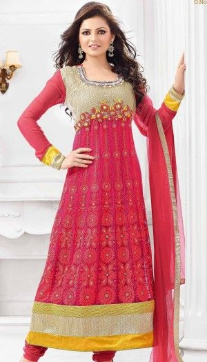 Drashti dhami Poly georgette pink emboidery anarkali suit with chiffon dupatta