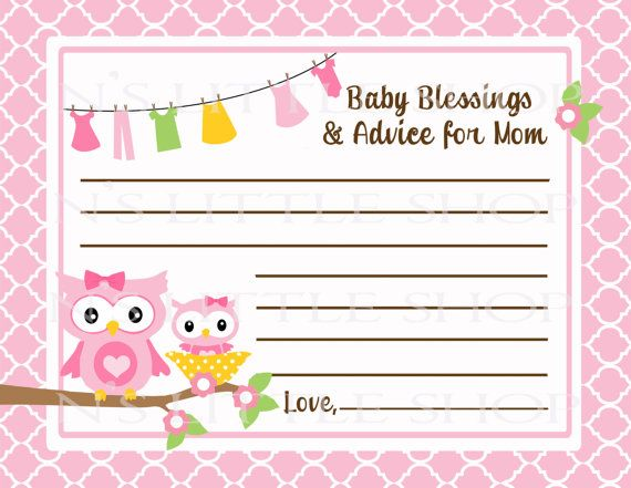 Owl Baby Shower Advice Card For The Mom To Be By Nslittleshop, $3.00