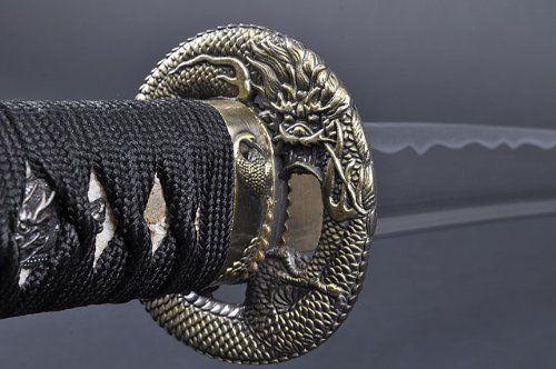 Fully Handmade Dragon Aluminium Japanese Samurai Katana Training Sword #693 by Handmade Sword. $119.99. Blade: Aluminium;Edge: Unsharpened;Hi(blood groove): Long Hi on each side;Tsuka(handle): Genuine Rayskin wrapped with Japanese cotton Ito & ornamented with Menuki(ornament);Tang: Full tang signed with smith's signature;Tsuba: Dragon ts. Save 20%!