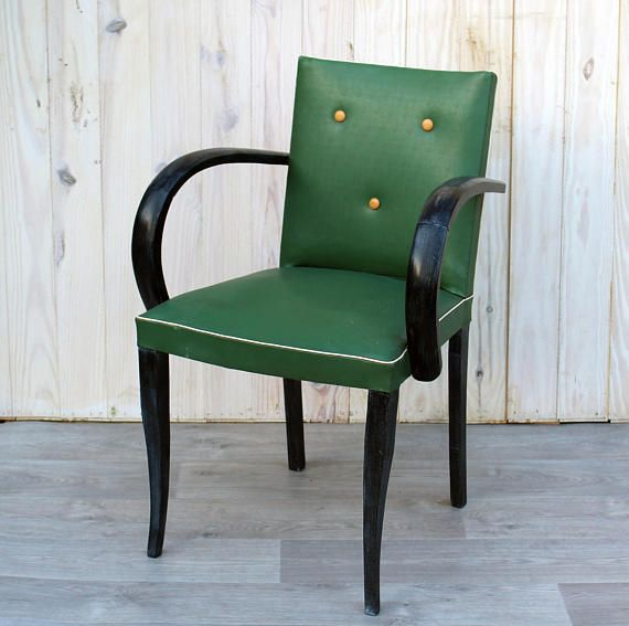 Charly armchair bridge green leatherette France 1955