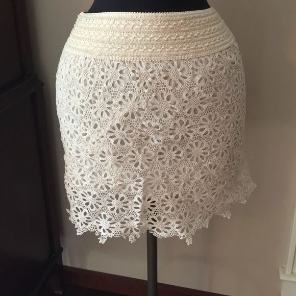 NWT Cream lace skirt Elastic waist and lined never worn Skirts Mini