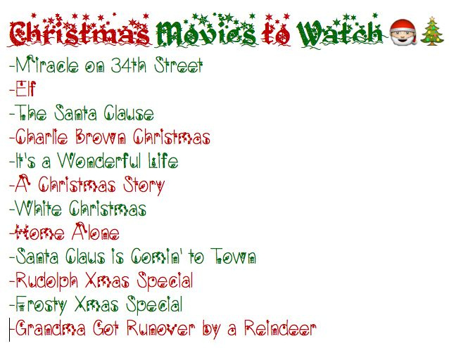 My personal Christmas movie list for this year :)