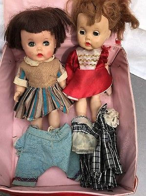 2 Vintage 50's R & B Littlest Angel 10 In Hard Plastic Doll Extra Clothes Case