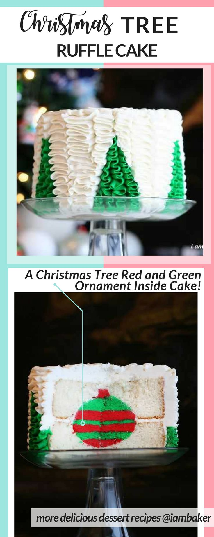 Who wouldn't love easy cake recipes but if you can make a surprise inside cake, the better! With easy cake decorating ideas, you can create this Christmas tree cake! Just follow the tutorial by clicking the pin. For more delicious desserts recipes to make, check us out at #iambaker. #desserts #christmastime