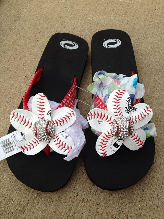 I sort of like the red ones, too!  Red Baseball Bling Flip Flops by HeavensCreationsEP on Etsy, $25.00