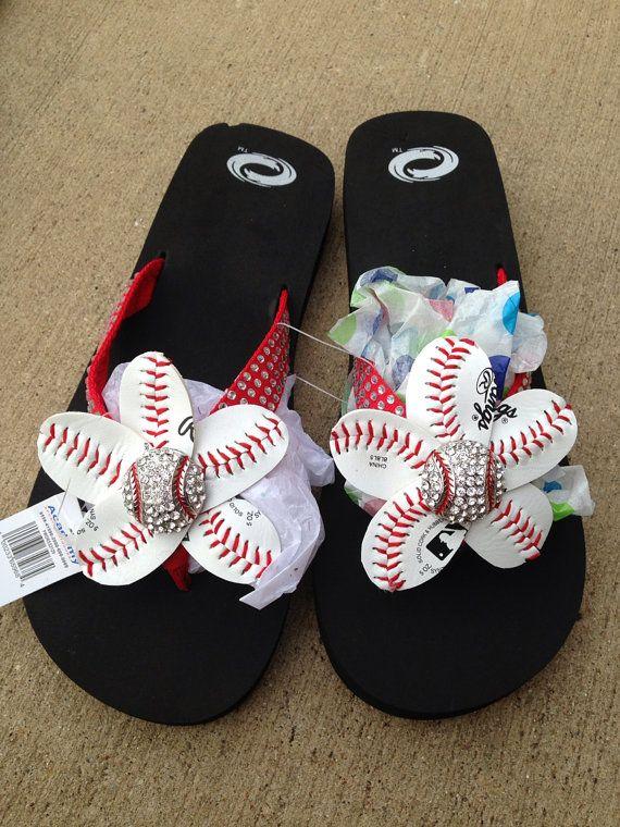 I sort of like the red ones, too!  Red Baseball Bling Flip Flops by HeavensCreat