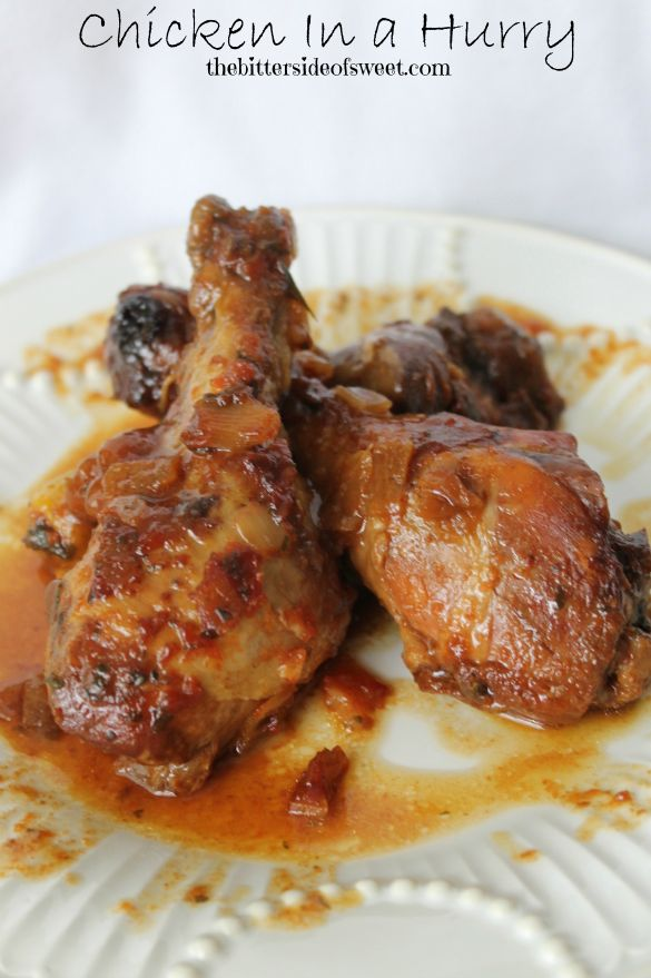 Chicken In A Hurry  INGREDIENTS  3 to 3/12 pounds chicken legs ( about 12 pieces) ½ cup ketchup ¼ cup brown sugar ¼ cup water 1 onion, chopped 2 tablespoons butter 1 tablespoon dried parsley salt