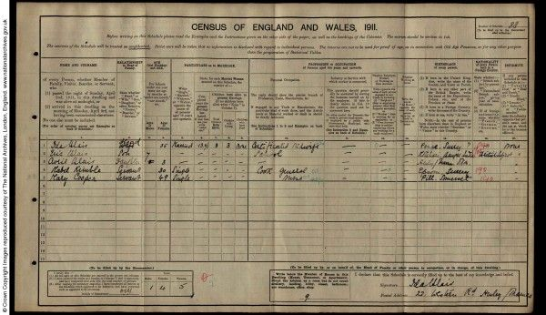 1911 census showing George Orwell as a school boy in Henley