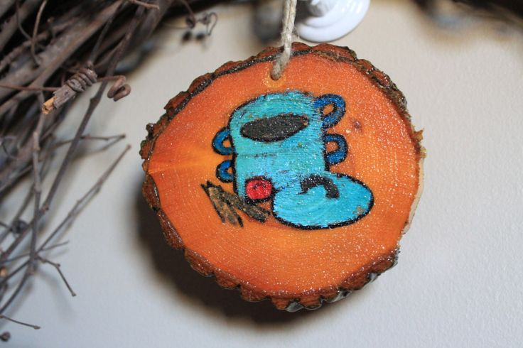 Cooking stockpot with pasta and tomato log ornament hand painted tree slice oak ornament rustic cooking ornament for the cook gift christmas by CammisCountry on Etsy